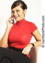 Atractive brunet businesswoman with phone