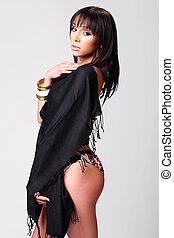 Atractive brunette in her underwear