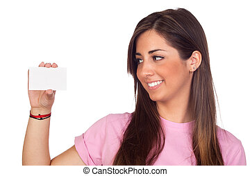 Atractive girl with a blank card isolated on white...