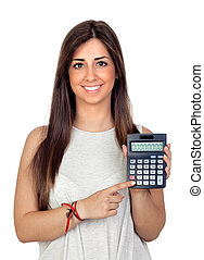 Atractive girl with a calculator