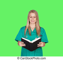 Atractive medical girl reading a book