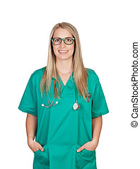 Atractive medical girl with glasses