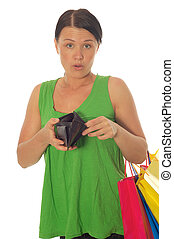 atractive woman with empty wallet on white background