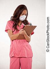 atractivo, asiático femenino, enfermera, doctor