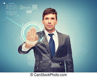 atractivo, buisnessman, trabajando, con, virtual, pantalla