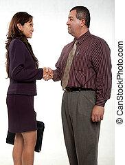 atractivo, empresario empresaria que saludando