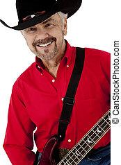 atractivo, feliz, hombre anciano, con, bajo eléctrico, guitarra, y, vaquero