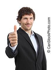 atractivo, hombre de negocios, con, pulgar up