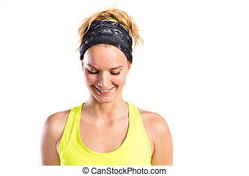 atractivo, joven, condición física, mujer, en, amarillo,...