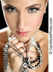 atractivo, moda, elegante, mujer, joyas
