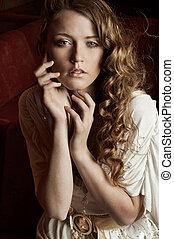 atractivo, mujer joven