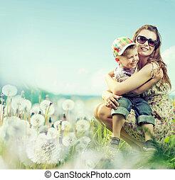 atractivo, mujer, juego, con, ella, hijo