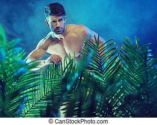 atractivo, muscular, hombre, en, el, selva