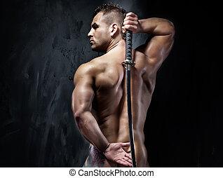 atractivo, muscular, hombre, posar, witf, sword.