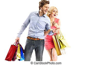 atractivo, pareja, el mirar, el, ventas