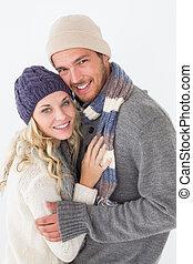 atractivo, pareja joven, en, ropa caliente