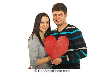 atractivo, pareja, tenencia, corazón