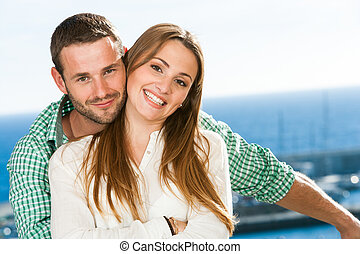 atractivo, retrato, joven, pareja.