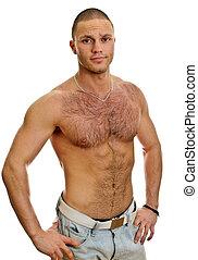 atractivo, shirtless, macho, en, vaqueros, aislado, blanco