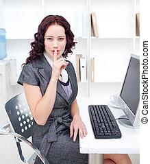atractivo, silencio, preguntar, mujer de negocios