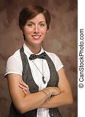 atractivo, sonriente, haired rojo, adulto joven, hembra, retrato