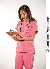 atraente, asiático feminino, enfermeira, doutor