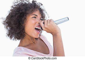 atraente, cantando, mulher, microfone