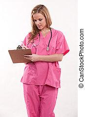 atraente, caucasiano, enfermeira, doutor