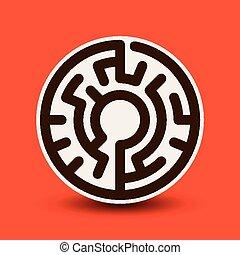 atraente, circular, labirinto