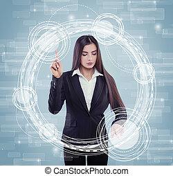 atraente, confiança, executiva, em, paleto, tocar, virtual, tela