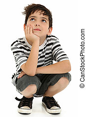 atraente, criança menino, pensando