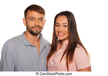 atraente, de, um, sorrindo, par jovem
