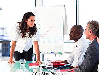 atraente, dela, apresentação, colegas, executiva, interação, após