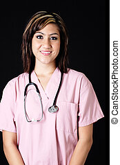 atraente, enfermeira, em, cor-de-rosa