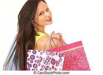 atraente, femininas, comprador