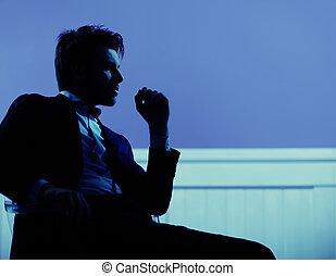 atraente, homem negócios, disposição, pacata