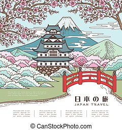 atraente, japão, viagem, cartaz