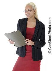 atraente, jovem, mulher negócio