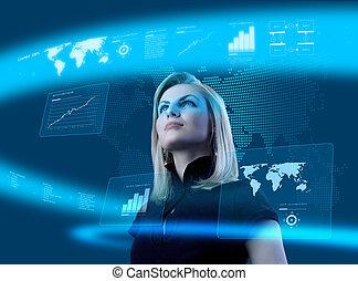 atraente, loiro, mulher jovem, em, futurista, interface