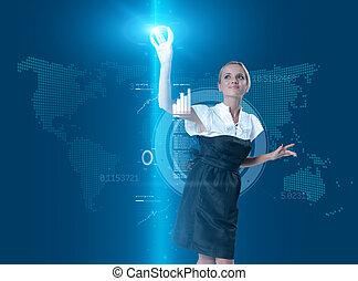 atraente, loiro, tocar, a, botão, em, virtual, futuro, interface