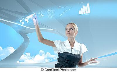atraente, loiro, tocar, mundo, mapa, virtual, futuro, interface