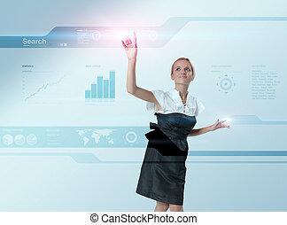 atraente, loiro, tocar, mundo, mapa, virtual, futuro, interface., luz, flashes., um, de, um, 200+, series.