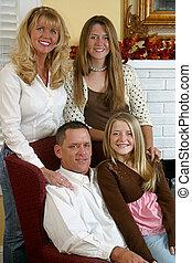 atraente, loura, família, 1