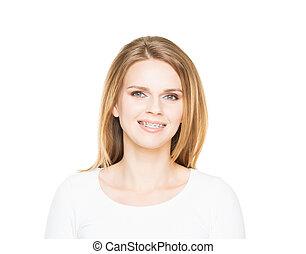 atraente, menina sorrindo adolescente, em, dentes,...