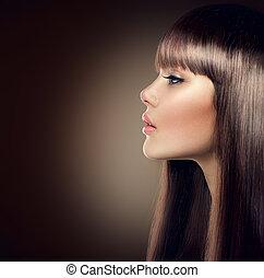 atraente, modelo moda, com, longo, e, saudável, cabelo marrom