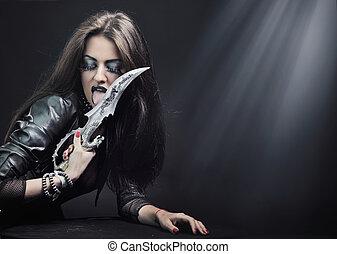 atraente, morena, beleza, com, faca