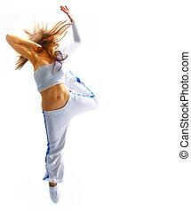 atraente, mulher jovem, dançar, cabelo voando