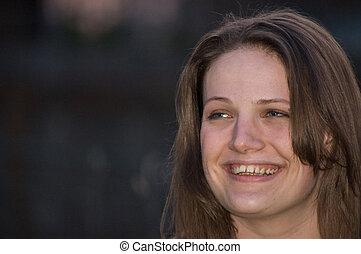 atraente, mulher, mulher sorri