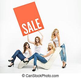 atraente, mulheres, promover, middle-season, venda