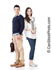 atraente, par, asiático, jovem
